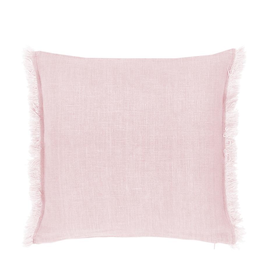 Leinen-Kissenhülle Luana in Rosa mit Fransen, 100% Leinen, Altrosa, 40 x 40 cm