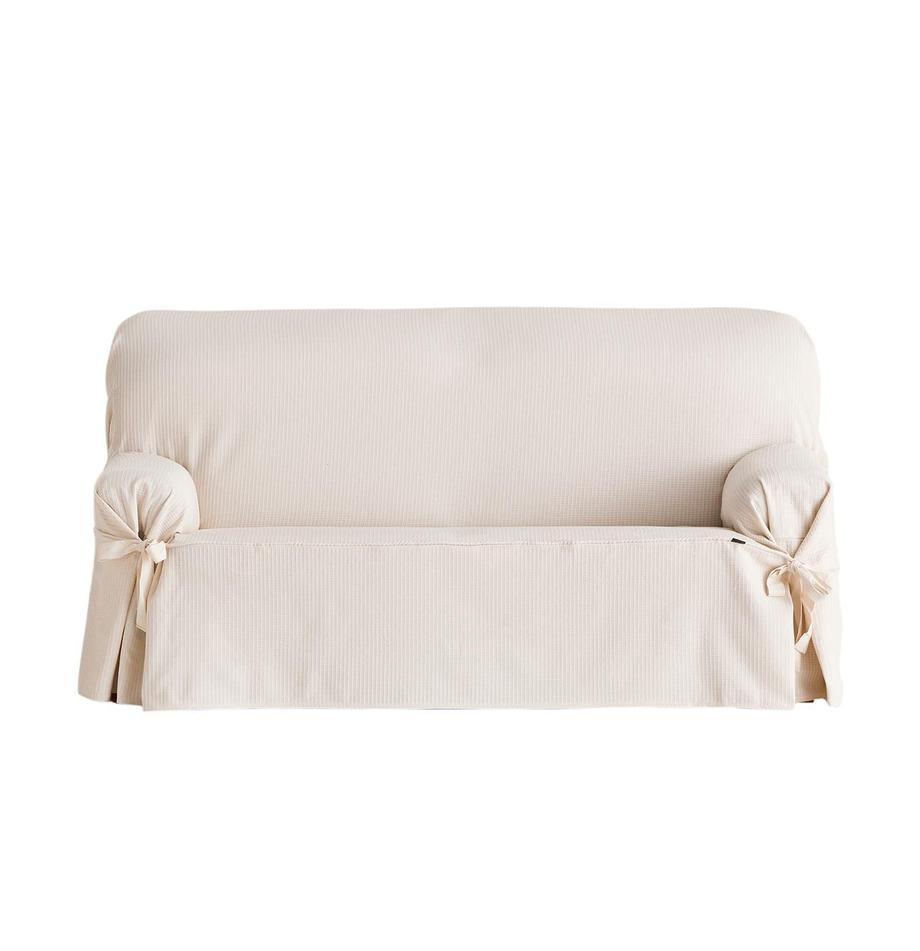Funda de sofá Bianca, Algodón, Crudo, 2 plazas (180 x 110cm)