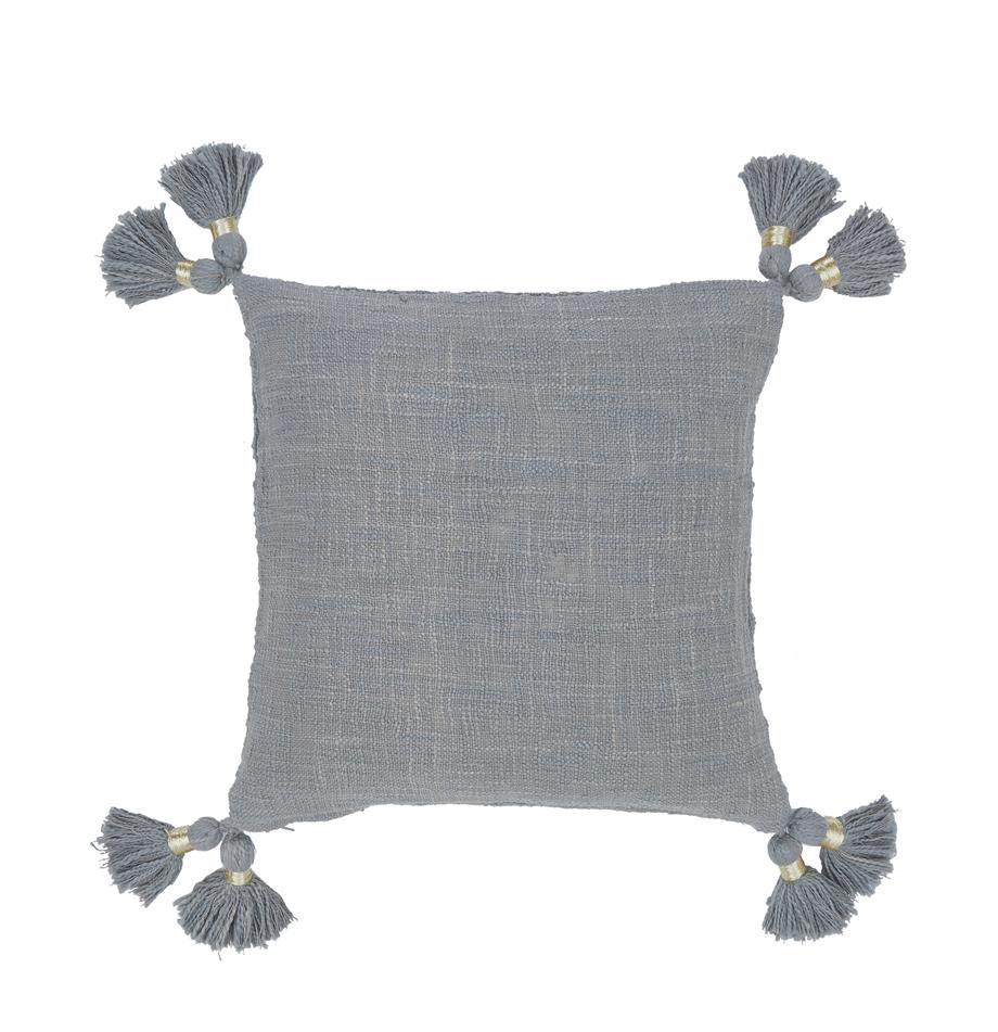 Federa arredo in cotone organico con nappe Fly, Cotone organico, Grigio, Larg. 45 x Lung. 45 cm