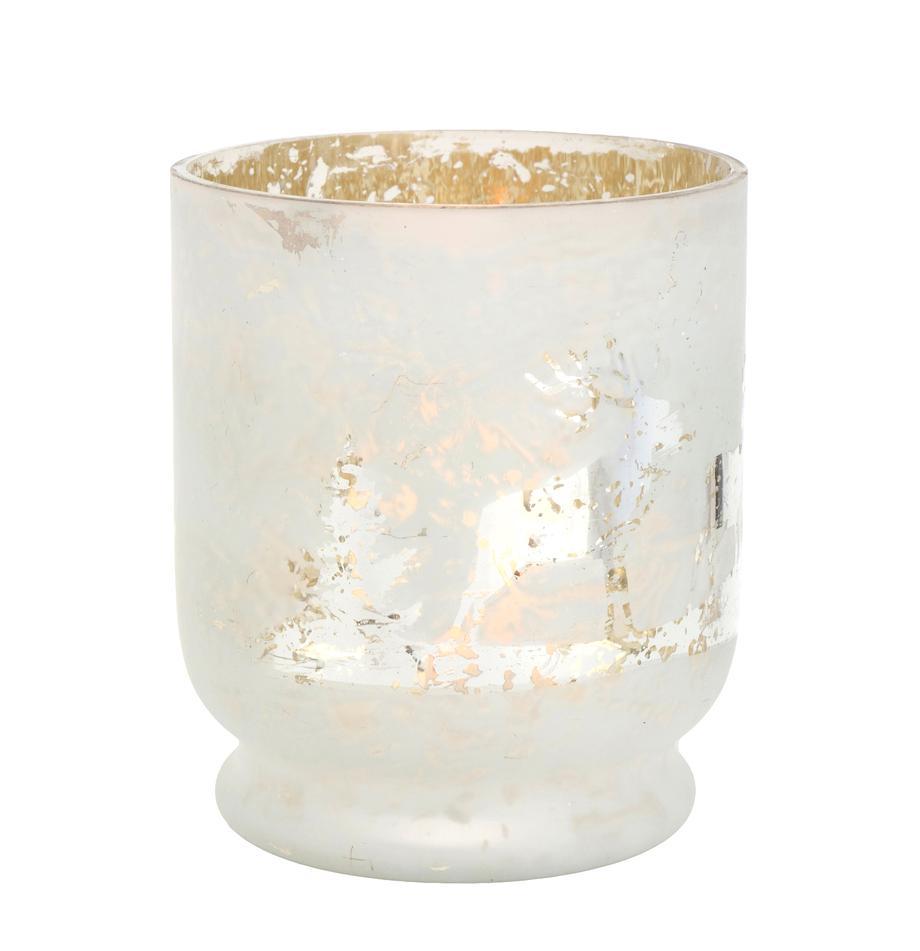 Windlicht Bonaparte, Gelakt glas, Wit, zilverkleurig, Ø 13 x H 15 cm