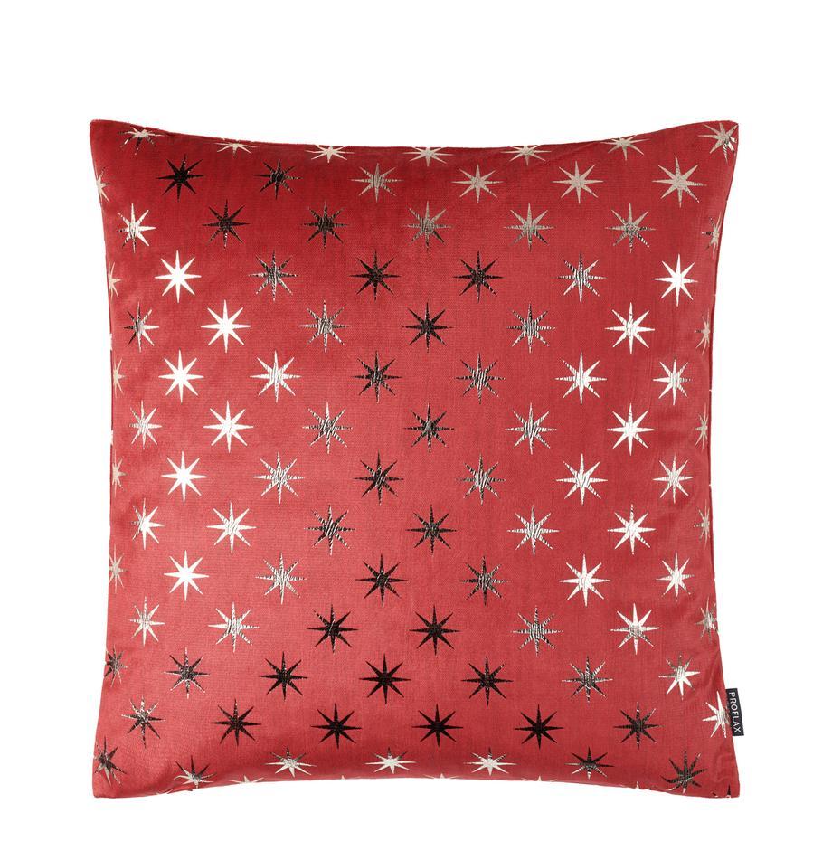 Kissenhülle Cosmos mit silbernen Sternen, Polyester, Rot, Silberfarben, 40 x 40 cm