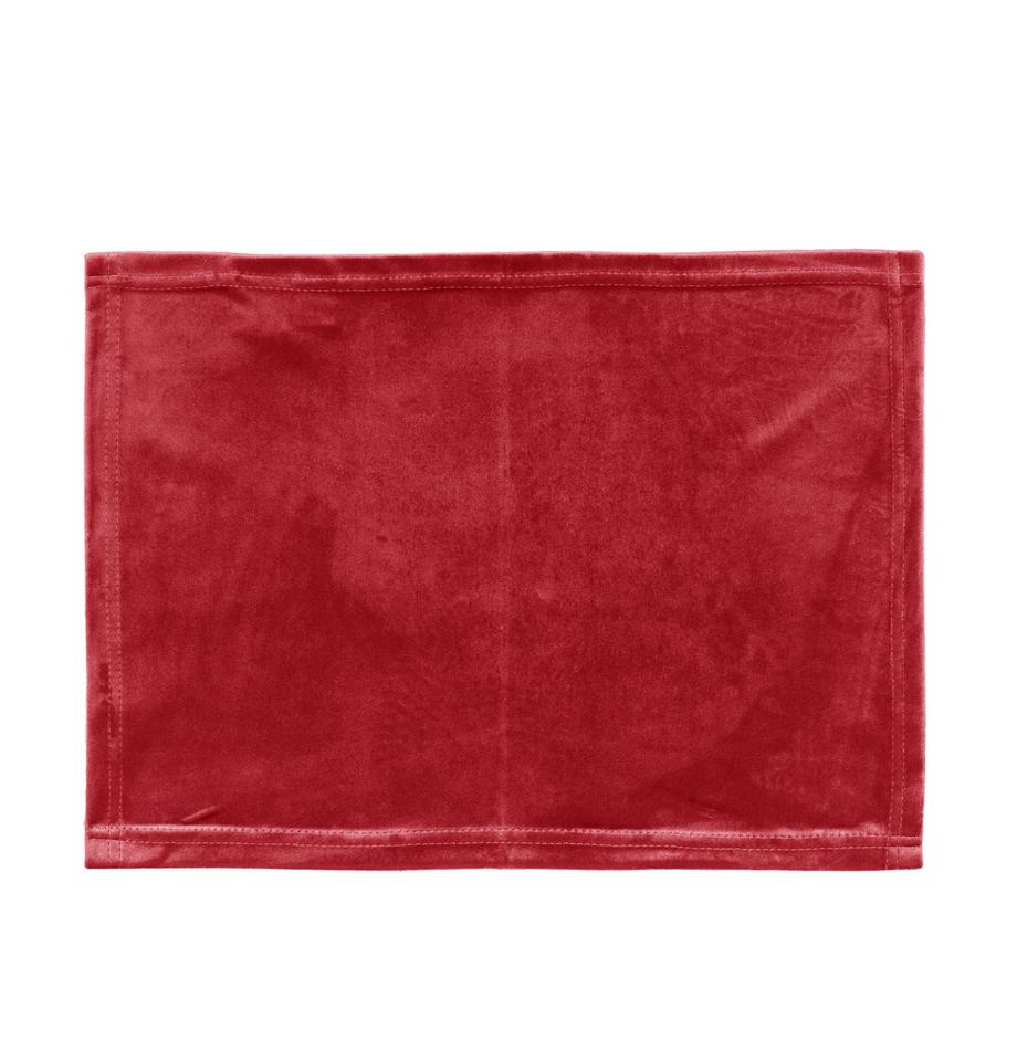 Fluwelen placemats Simone, 2 stuks, 100% polyester fluweel, Rood, 35 x 45 cm