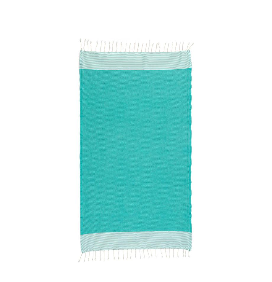 Hamamtuch Ibiza, 100% Baumwolle, sehr leichte Qualität, 200 g/m², Türkisgrün, Weiß, 100 x 200 cm