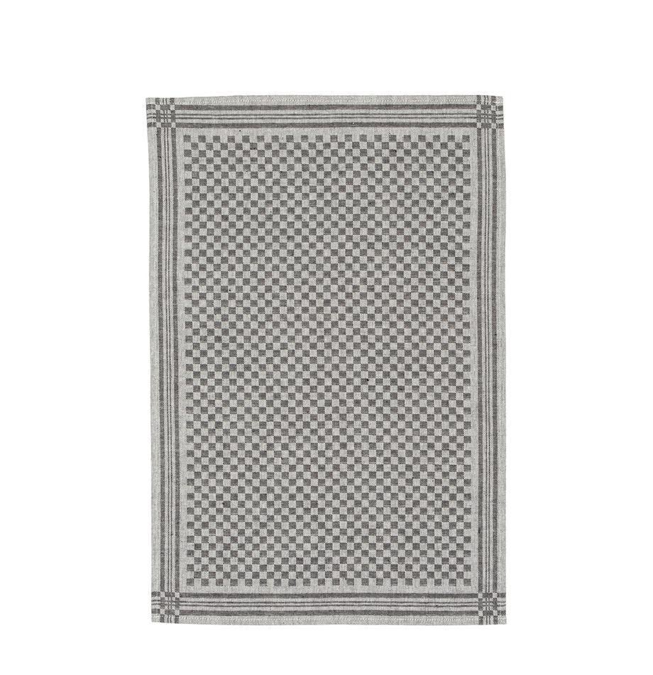Canovaccio in mezzo lino Schachbrett, 2 pz., Nero, crema, Larg. 50 x Lung. 70 cm