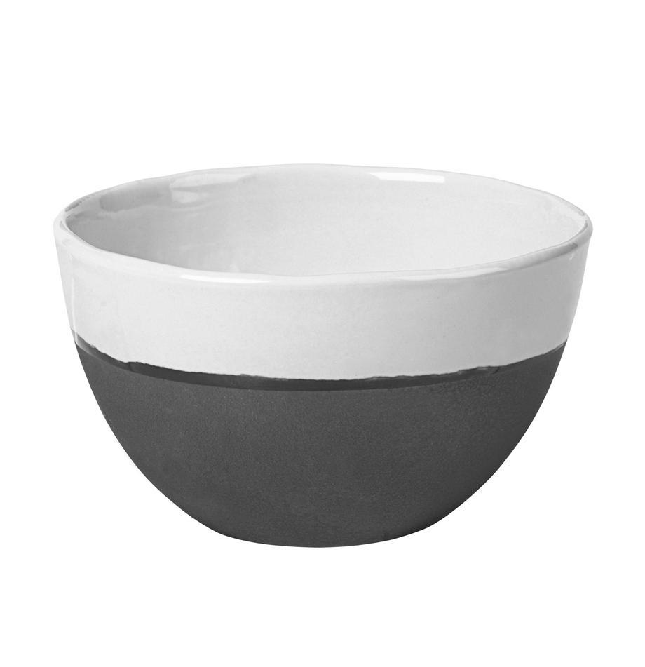 Ciotola opaca/lucida fatta a mano Esrum 4 pz, Sotto: gres naturale, Color avorio, grigio-marrone, Ø 14 x Alt. 9 cm