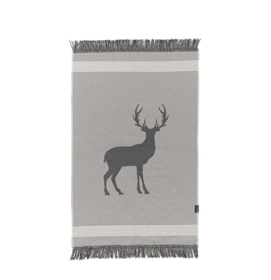 Mały dywan z frędzlami Goliath, Bawełna z recyklingu, Szary, ciemnoszary, beżowy, S 70 x D 120 cm (Rozmiar XS)