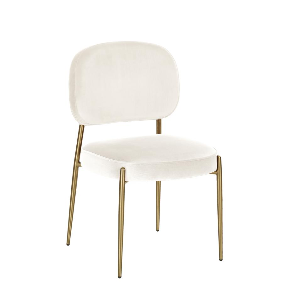 Fluwelen stoel Viggo, Bekleding: fluweel (polyester), Beige, B 49 x D 66 cm