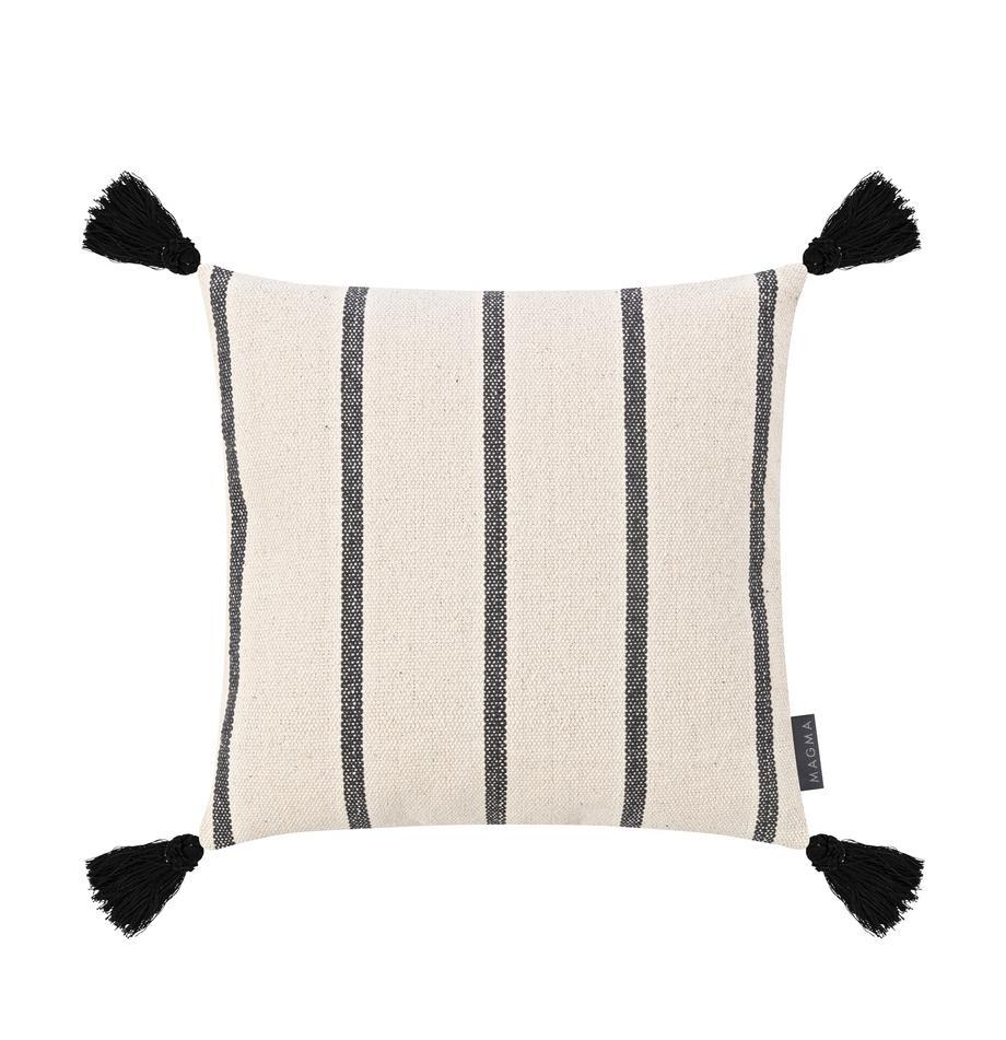 Gestreifte Kissenhülle Oyo mit Quasten, 100% Baumwolle, Schwarz, gebrochenes Weiß, 40 x 40 cm