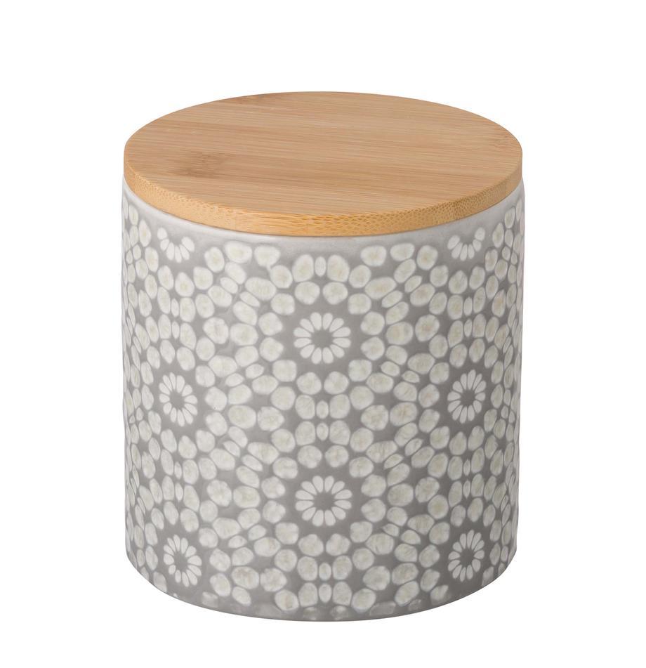 Aufbewahrungsdose Abella, Dose: Keramik, Deckel: Bambus, Dose: Zementgrau, Weiss<br>Deckel: Bambus, Ø 11 x H 12 cm