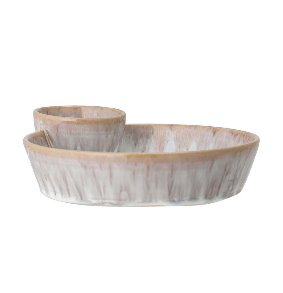 Handgemaakte schaal Caya van keramiek, Ø 24 cm, Keramiek, Beige, 24 x 4 cm