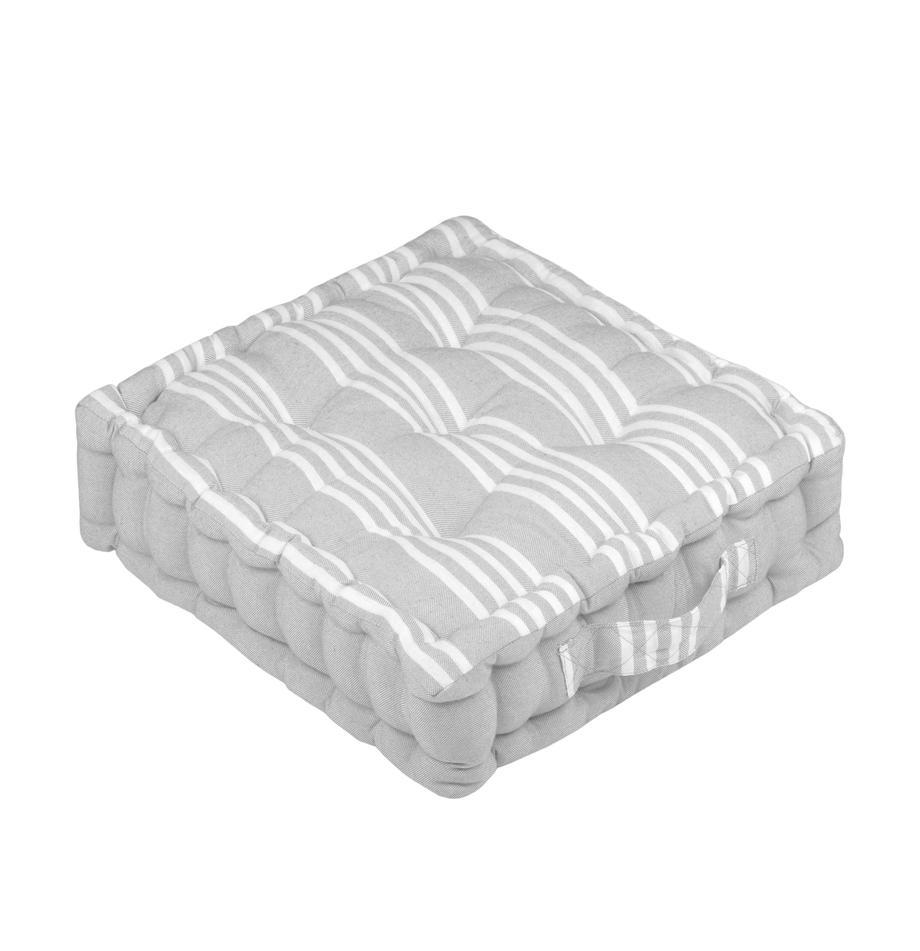 Kleines Bodenkissen Mandelieu in Grau, gestreift, Baumwollgemisch, Hellgrau, Weiß, 45 x 10 cm