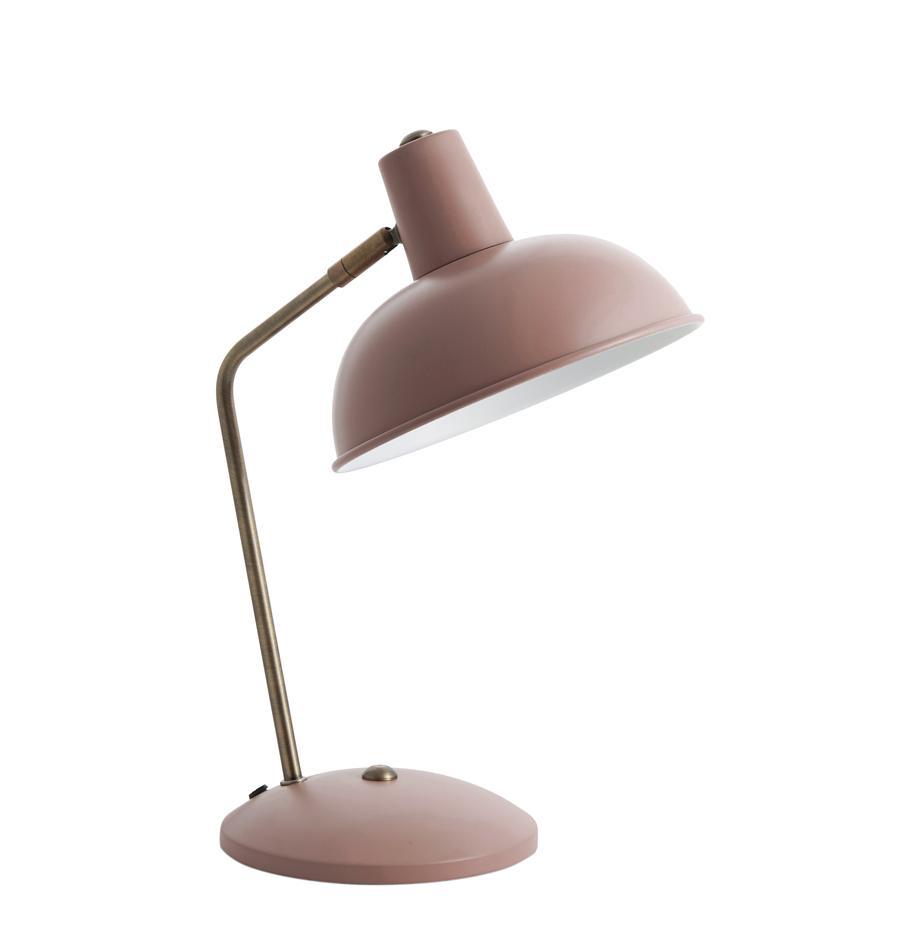 Lámpara de escritorio Hood, estilo retro, Pantalla: metal pintado, Cable: plástico, Rosa, latón, blanco, An 20 x Al 38 cm