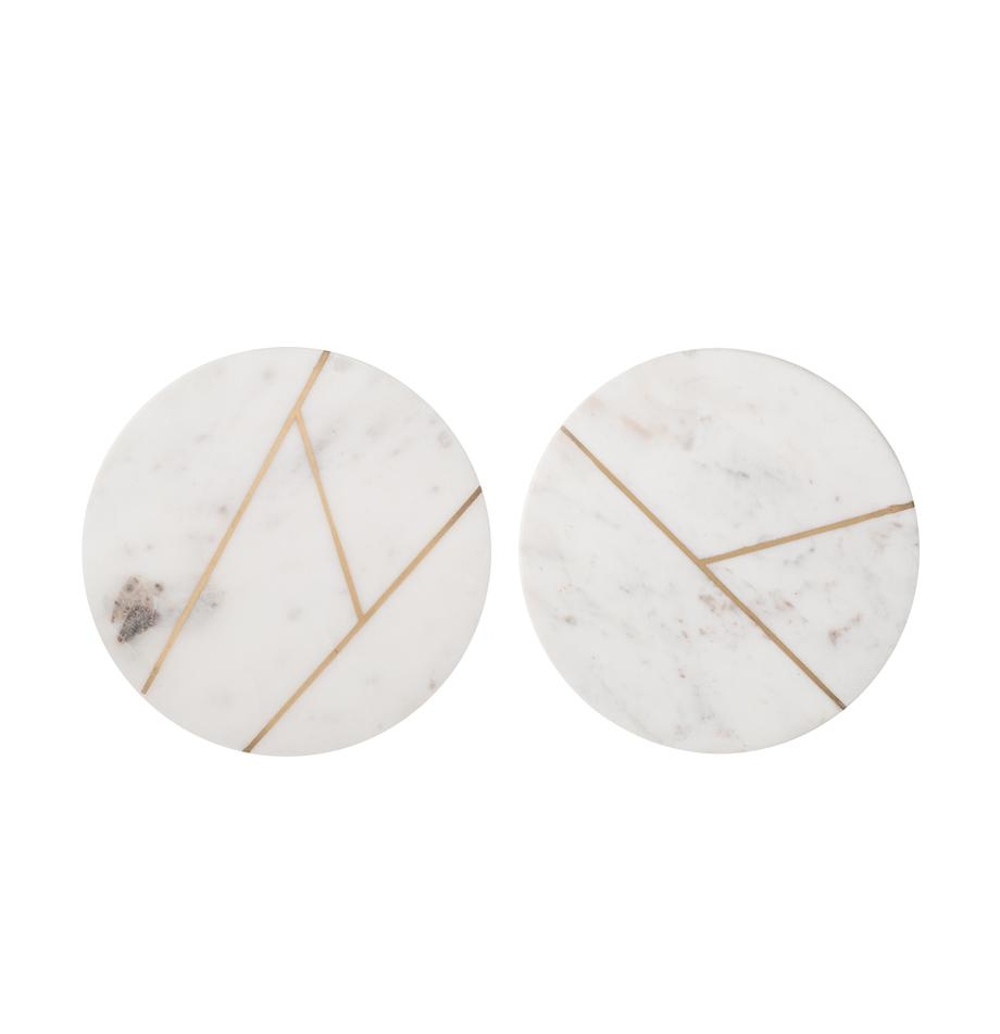 Set de placas de mármol Marble, 2pzas., 100%mármol, Mármol blanco, dorado, Ø 18 cm