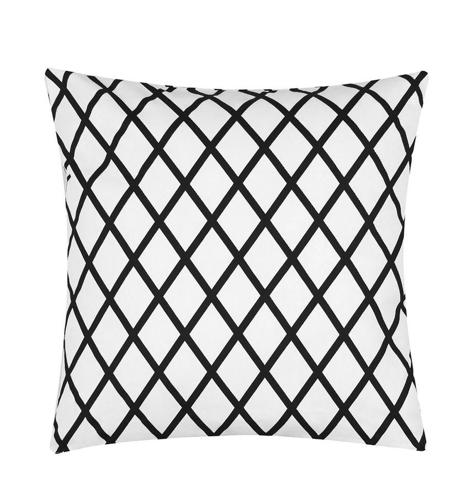 Funda de cojín Romy, 100%algodón, tela Panamá, Negro, crema, An 40 x L 40 cm
