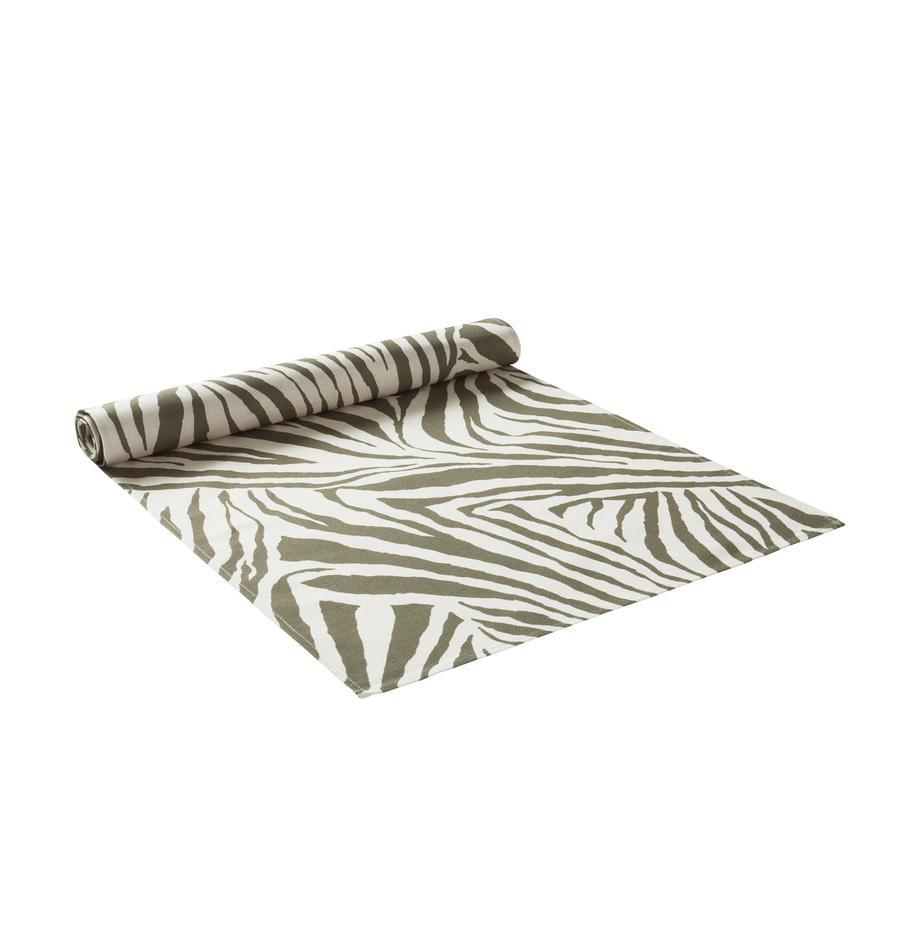 Tafelloper Zadie van biokatoen met groen zebra patroon, 100% katoen, afkomstig van duurzame katoenteelt, Olijfgroen, crèmewit, 40 x 140 cm