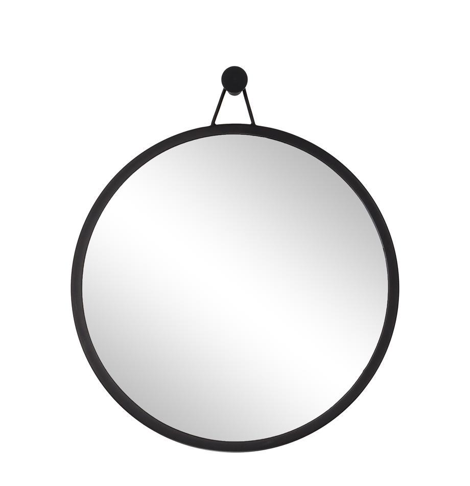 Ronde wandspiegel Lizzy met zwarte lijst, Lijst: gepoedercoat ijzer, Zwart, Ø 60 cm