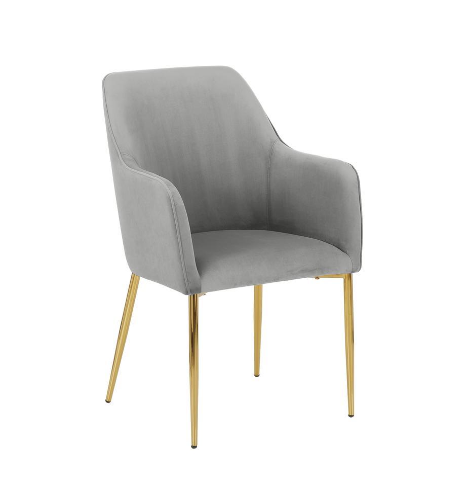 Samt-Armlehnstuhl Ava mit goldfarbenen Beinen, Bezug: Samt (Polyester) 50.000 S, Beine: Metall, galvanisiert, Samt Grau, Beine Gold, B 57 x T 63 cm