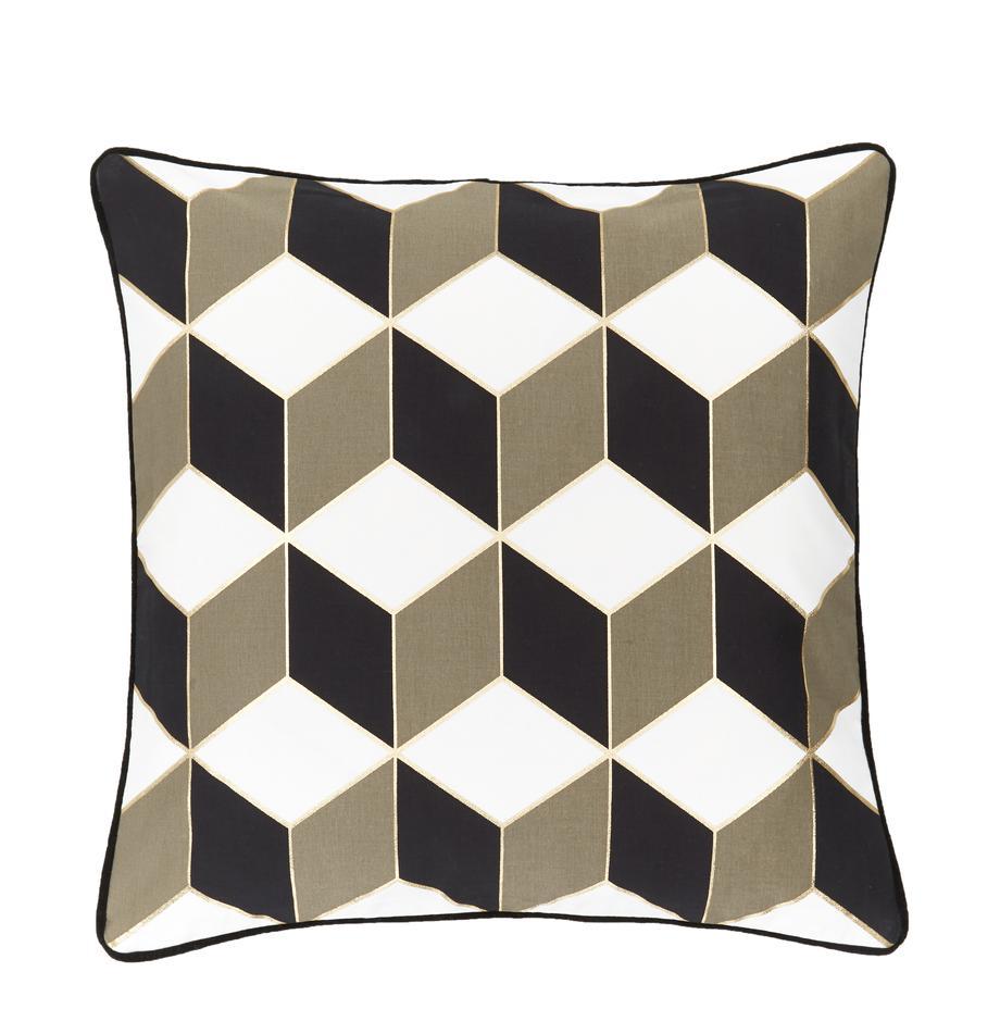 Funda de cojín estampada Geo, 100%algodón, Blanco crema, gris pardo, dorado, An 45 x L 45 cm