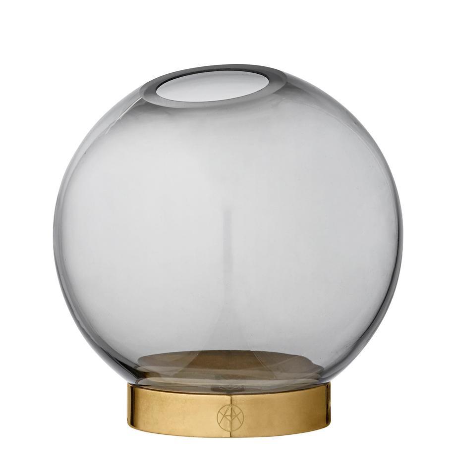Kleine Glas-Vase Globe mit Metallsockel, Vase: Glas, Vase: Schwarz, transparent Fuss: Messing, Ø 10 x H 10 cm