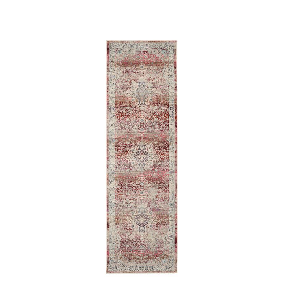 Loper Vintage Kashan met vintage patroon, Bovenzijde: 100% polypropyleen, Onderzijde: latex, Beige, rood, blauw, 70 x 245 cm