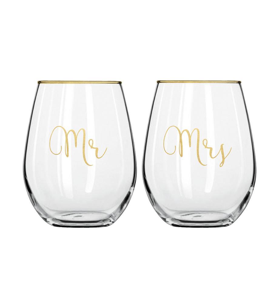 Szklanka Mr and Mrs, 2 elem., Szkło, Transparentny, odcienie złotego, Ø 10 x W 13 cm