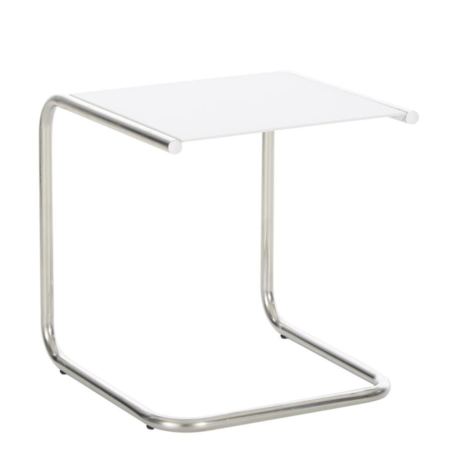 Outdoor bijzettafel Club van metaal, Tafelblad: gepoedercoat metaal, Frame: gepolijst aluminium, Wit, aluminiumkleurig, B 40 x D 40 cm