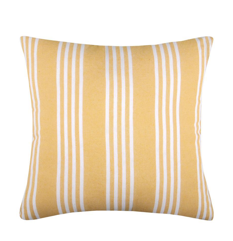 Cuscino a righe con imbottitura Mandelieu, Cotone misto, Giallo, bianco, Larg. 50 x Lung. 50 cm