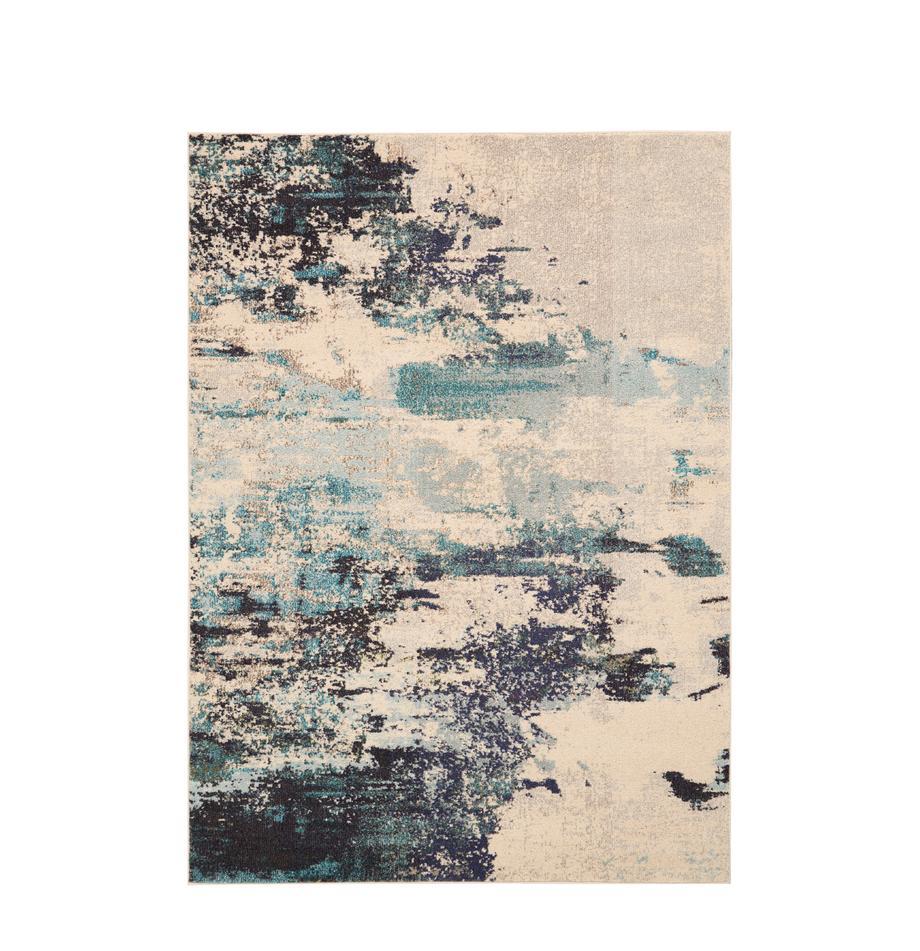 Tappeto fantasia a pelo corto blu-crema Celestial, Retro: juta, Avorio, tonalità blu, Larg.160 x Lung. 220 cm  (taglia M)