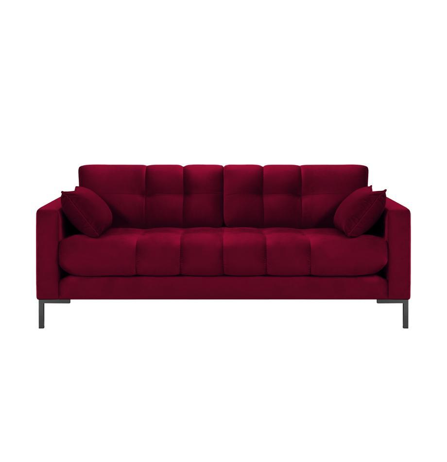 Divano 2 posti in velluto rosso Mamaia, Rosso, Larg. 177 x Prof. 92 cm
