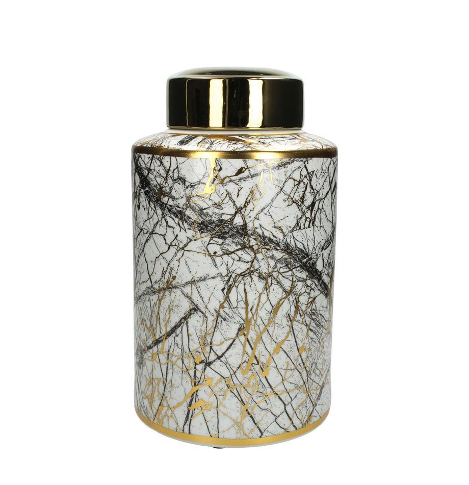 Pojemnik do przechowywania Marble, Porcelana, Czarny, biały, odcienie złotego, Ø 18 x W 30 cm