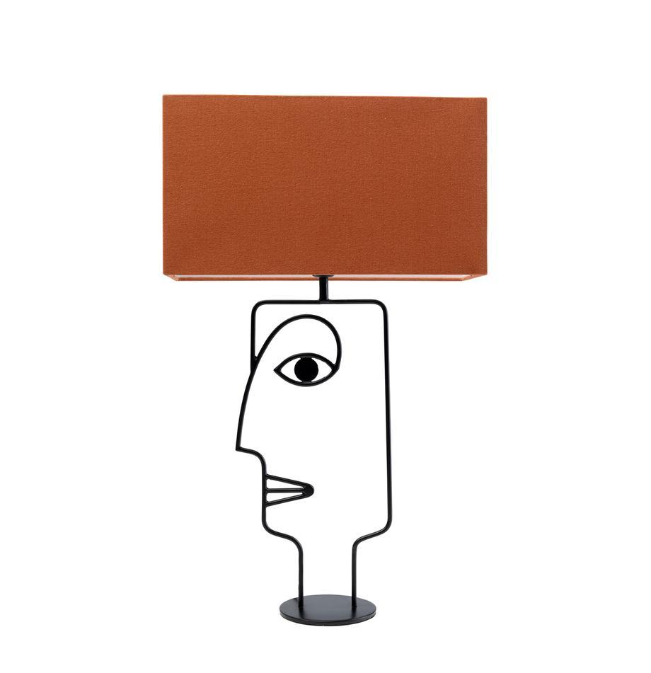 Große Tischlampe Face Orange, Lampenschirm: Baumwolle, Gestell: Stahl, pulverbeschichtet, Lampenfuß: Stahl, pulverbeschichtet, Orange, Schwarz, 40 x 66 cm