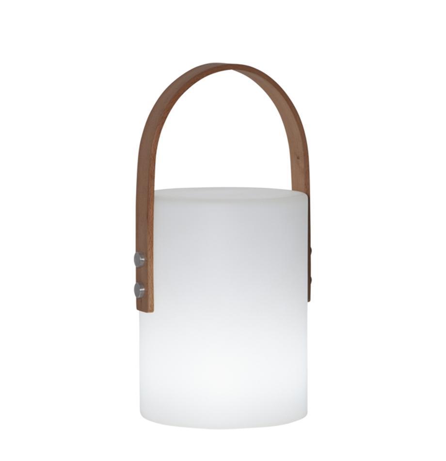 LED-Außenleuchte Lucie, batteriebetrieben, Gehäuse: Kunststoff, Griff: Holz, Weiß, Holz, 19 x 34 cm