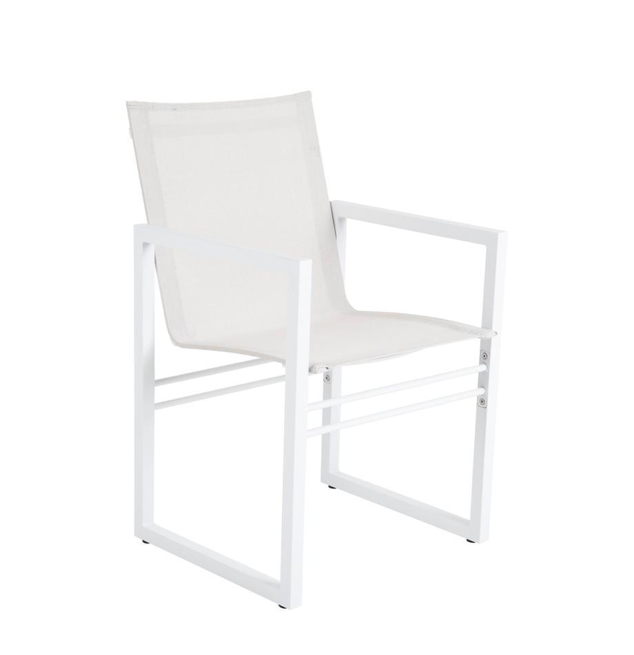 Gartenstuhl Vevi in Weiß, Gestell: Aluminium, pulverbeschich, Sitzfläche: Textilene, Weiß, B 57 x T 54 cm