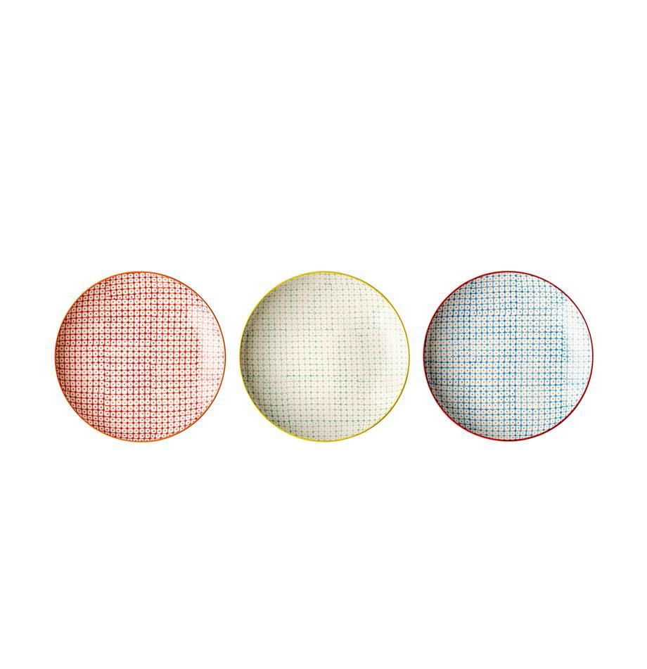 Platos postre Carla, 3uds., Cerámica, Rojo, verde, azul, Ø 20 cm