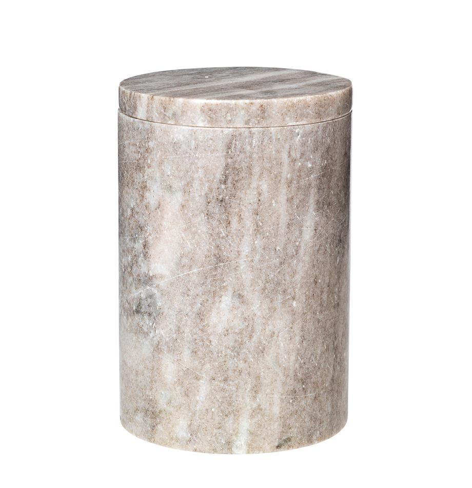 Marmeren opbergpot Osvald, Marmer, Lichtbruin, Ø 10 x H 15 cm