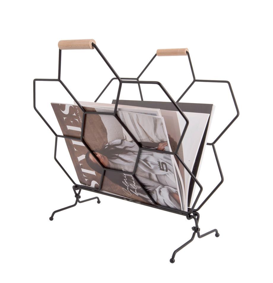 Stojak na czasopisma Honeycomb, Czarny, drewno naturalne, S 40 x W 45 cm