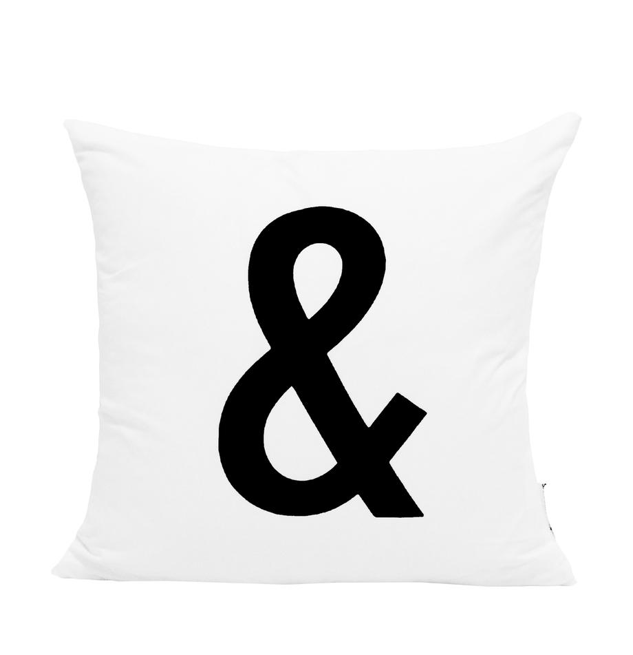 Kussenhoes Alphabet, 100% polyester, Zwart, wit, 40 x 40 cm