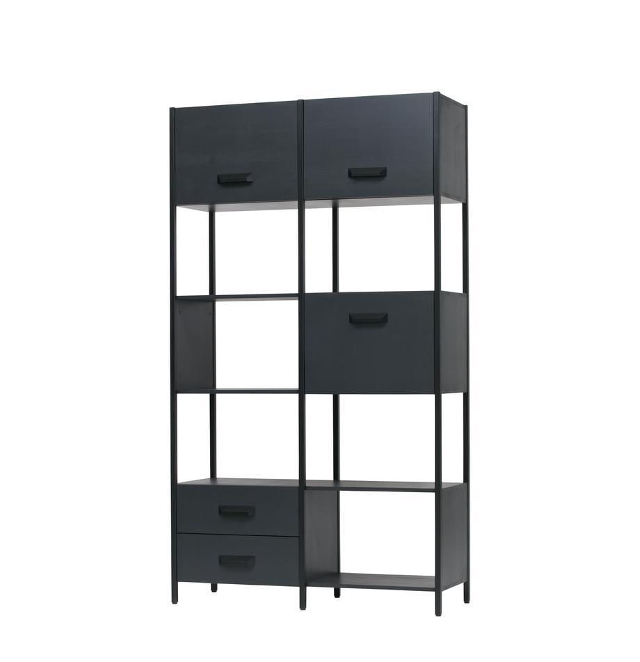 Libreria in metallo Legacy, Struttura: acciaio verniciato, Nero, Larg. 123 x Alt. 220 cm