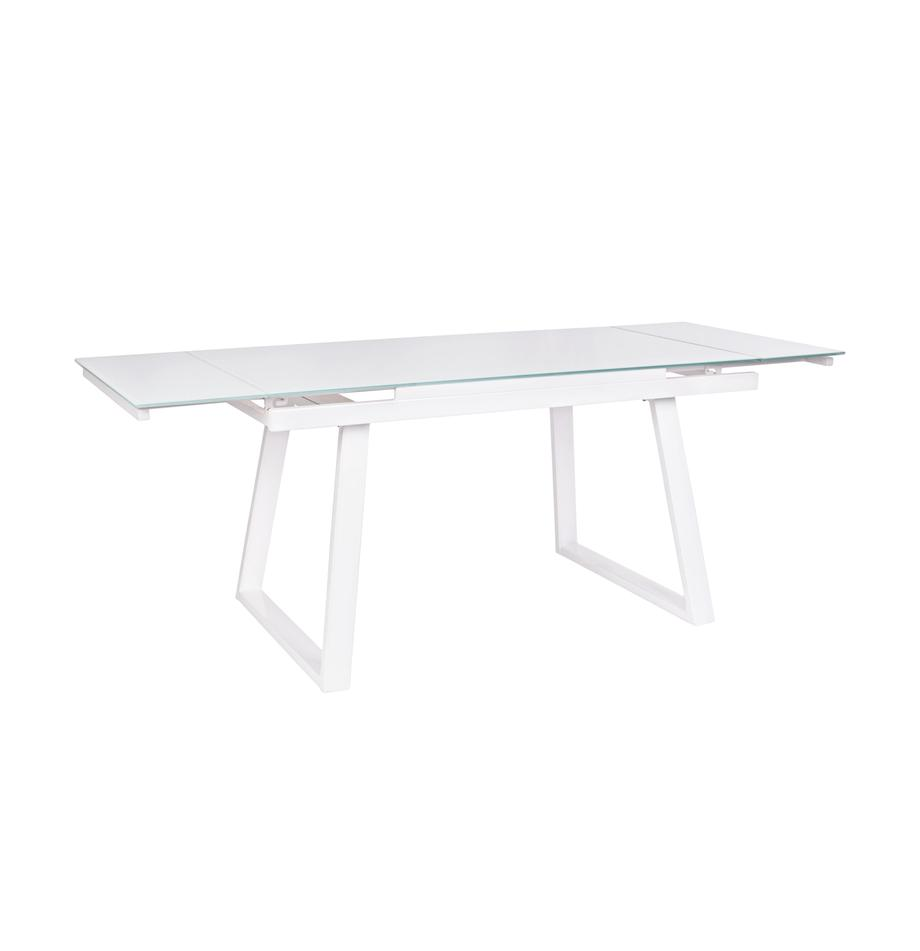 Mesa de comedor extensible Barney, Tablero: vidrio templado, Patas: madera de roble, Transparente, blanco, An 140 x F 80 cm