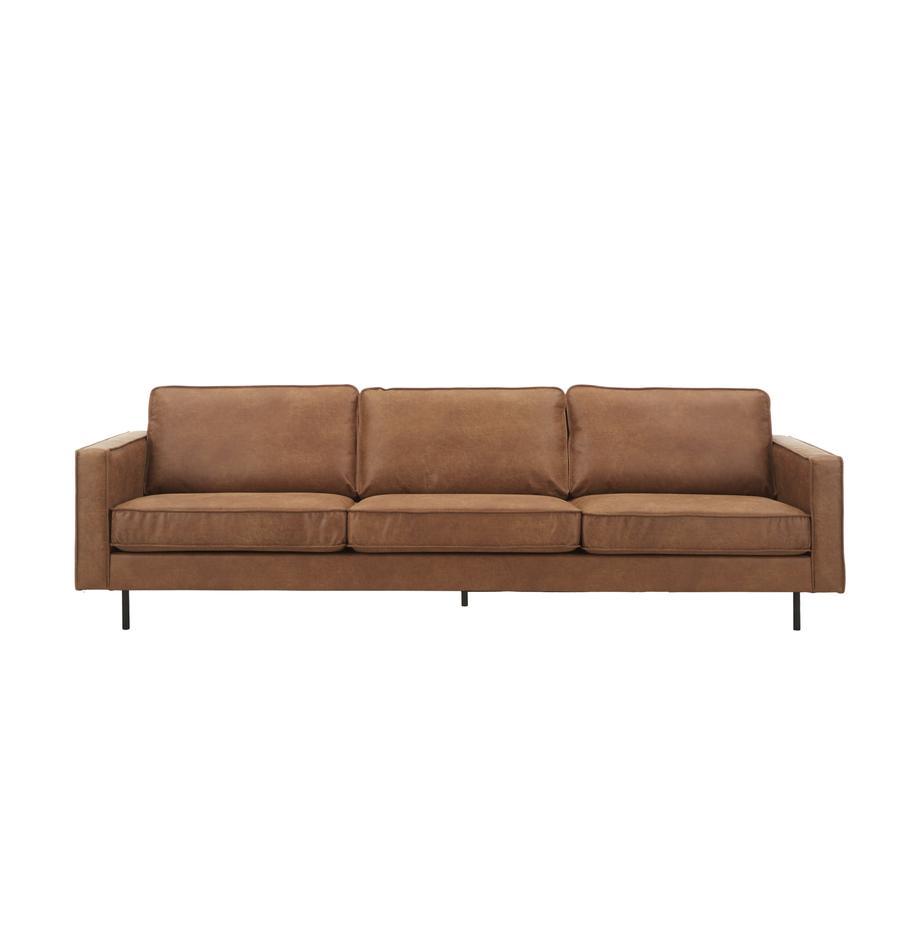 Sofa Hunter (4-Sitzer) in Braun aus recyceltem Leder, Bezug: Recyceltes Leder (70% Led, Gestell: Massives Birkenholz und h, Füße: Metall, pulverbeschichtet, Leder Braun, B 264 x T 90 cm