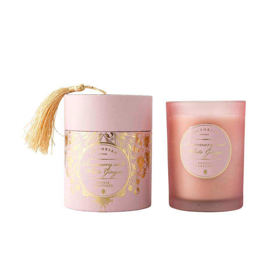 Vela perfumada Sense (romero y jengibre blanco), Recipiente: vidrio, Recipiente: rosa Cera: blanco, Ø 9 x Al 11 cm