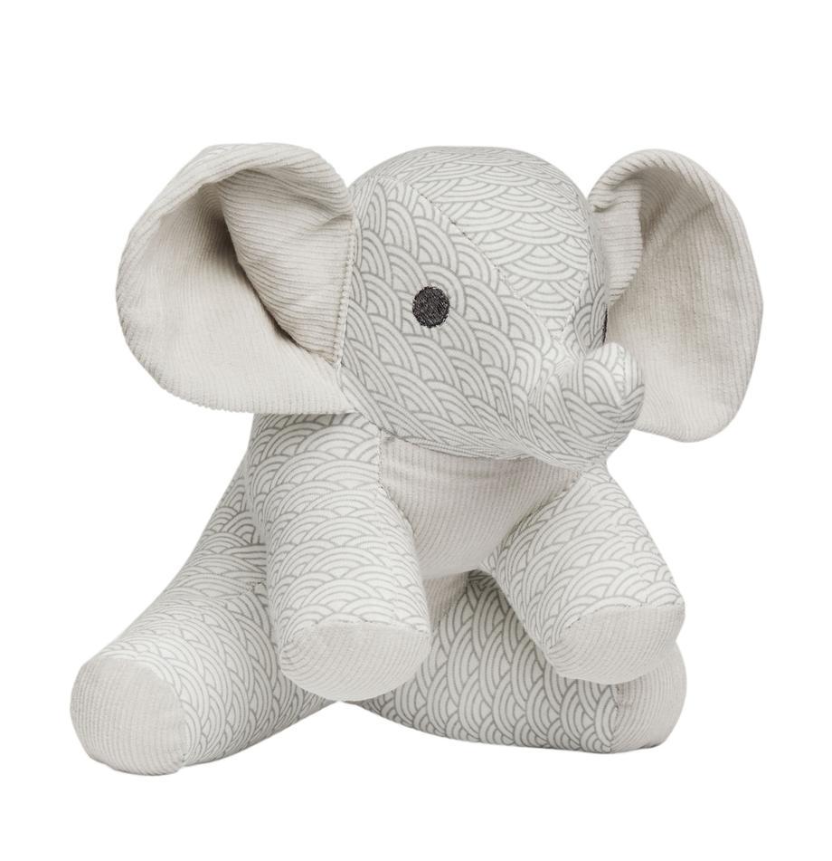 Knuffeldier Elephant, Bekleding: organisch katoen, Grijs, wit, lichtgrijs, 20 x 21 cm