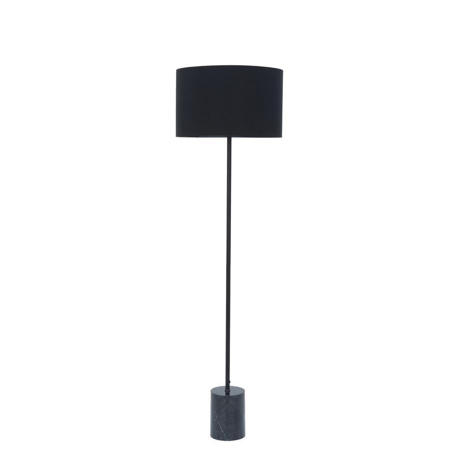 Lampada da terra con base in marmo Cody, Paralume: tessuto, Base della lampada: marmo, metallo, verniciat, Marmo nero, Ø 45 x Alt. 159 cm