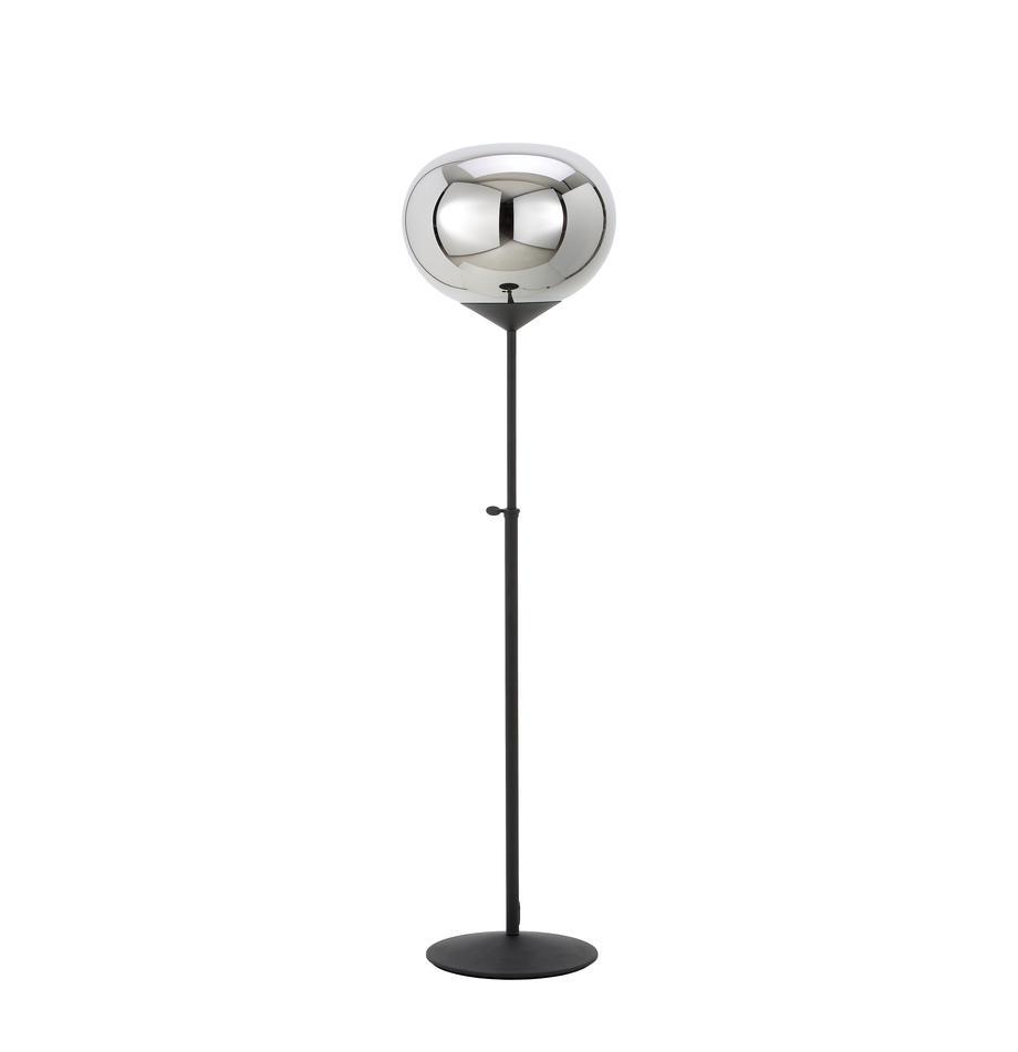 Stehlampe Drop aus verchromtem Glas, Lampenschirm: Glas, verchromt, Lampenfuß: Metall, lackiert, Chrom, Schwarz, Ø 36 x H 164 cm