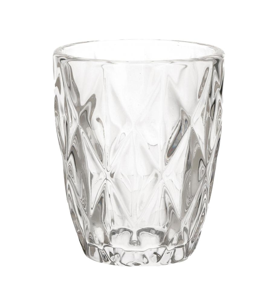 Wassergläser Diamond mit Relief, 6 Stück, Glas, Transparent, Ø 8 x H 10 cm