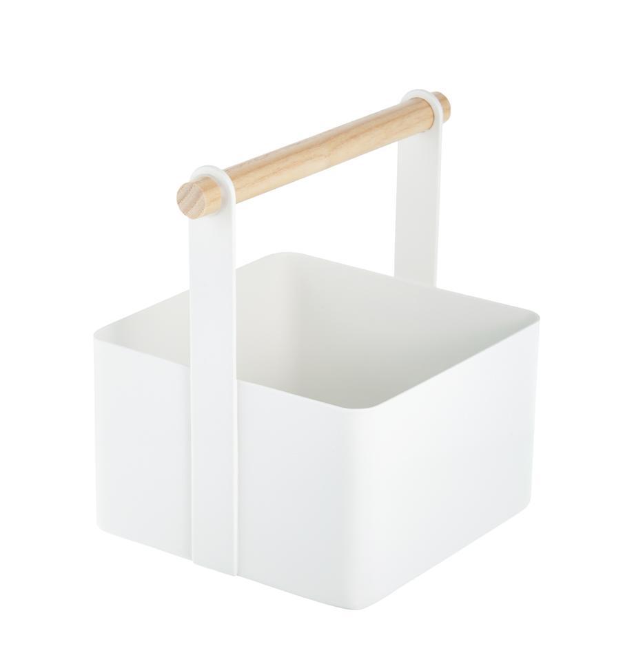Aufbewahrungskorb Tosca, Box: Stahl, lackiert, Griff: Holz, Weiss, Braun, 16 x 16 cm