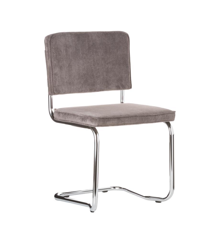 Sedia cantilever Ridge Kink Chair, Rivestimento: 88% nylon, 12% poliestere, Struttura: metallo cromato, Grigio, Larg. 48 x Prof. 48 cm