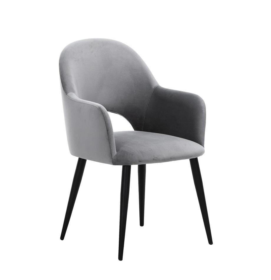 Krzesło z podłokietnikami z aksamitu Rachel, Tapicerka: aksamit (poliester) Dzięk, Nogi: metal malowany proszkowo, Aksamitny szary Nogi czarny, S 47 x G 64 cm