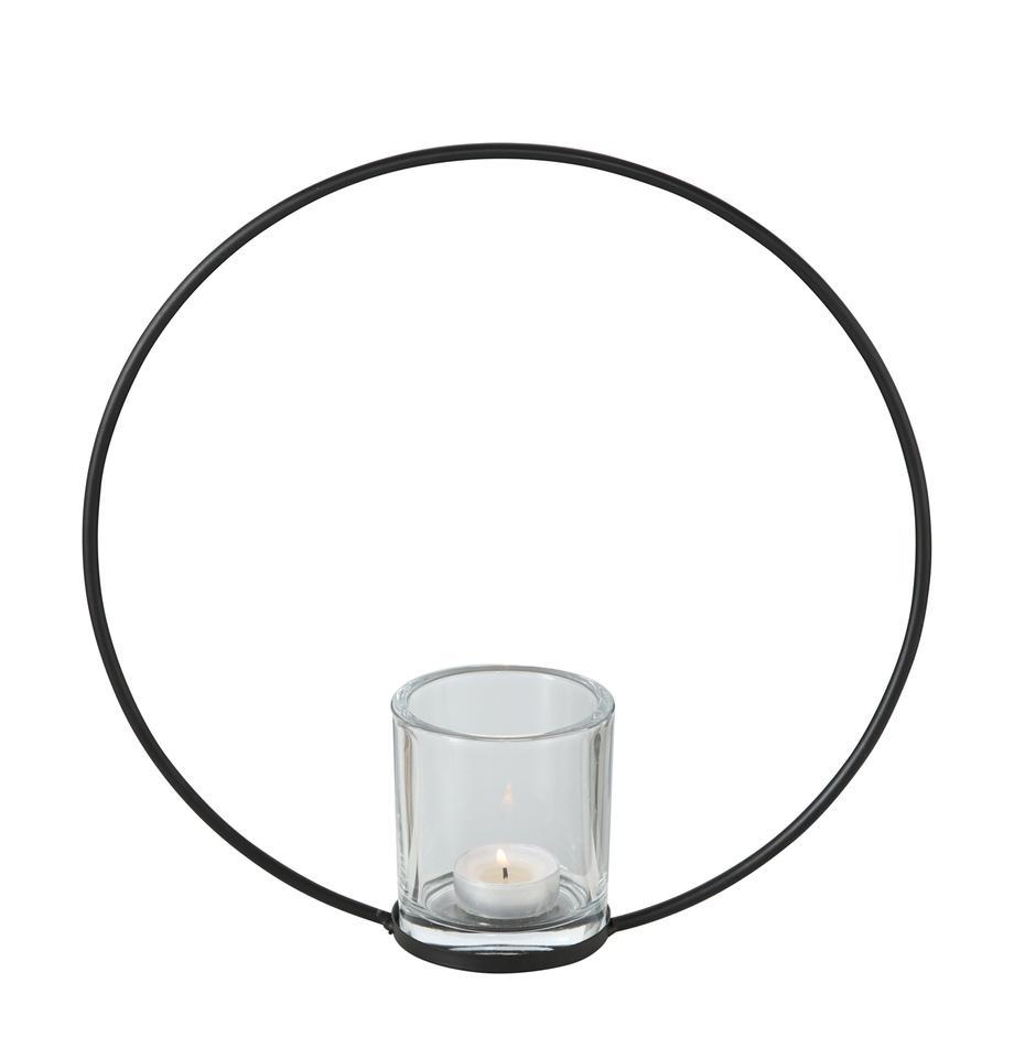 Waxinelichthouder Rumba, Frame: gecoat metaal, Windlicht: glas, Zwart, Ø 30 x D 8 cm