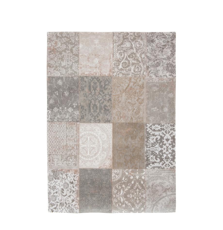 Chenille-Teppich Multi mit Patchwork-Design, Vorderseite: 85%Chenillegarn (Baumwol, Webart: Jacquard, Rückseite: Baumwollgemisch, latexbes, Beige, Grau, B 200 x L 280 cm (Größe L)